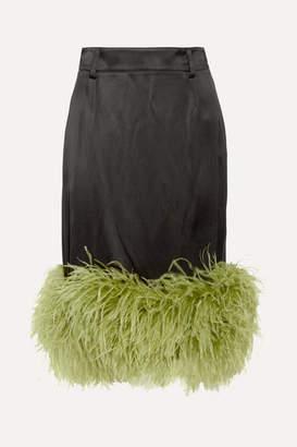 Prada Feather-trimmed Satin Midi Skirt - Black