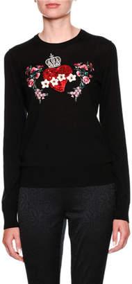 Dolce & Gabbana Crewneck Long-Sleeve Cashmere Sweater w/ Heart Applique