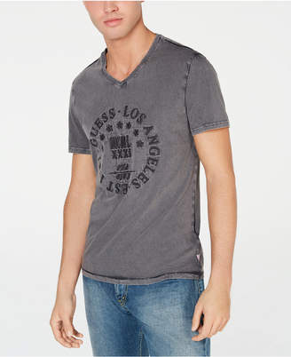 1288fceaabe6 GUESS Men Retro Stamp Embroidered Graphic V-Neck T-Shirt