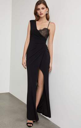 BCBGMAXAZRIA One Shoulder Lace Inset Gown