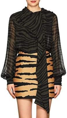 Proenza Schouler Women's Tiger-Pattern Silk Tieneck Blouse