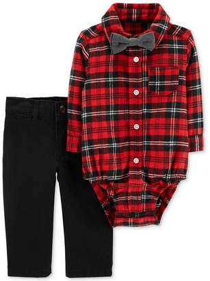 Carter's Baby Boys 3-Pc. Cotton Plaid Bodysuit, Bow Tie & Jeans Set