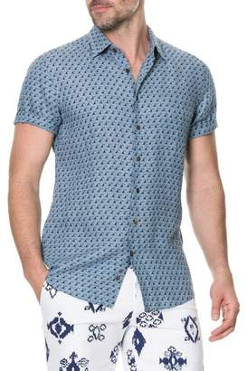 RODD AND GUNN York Bay Slim Fit Print Linen Sport Shirt
