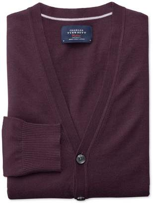 Charles Tyrwhitt Wine Merino Wool Cardigan Size Medium