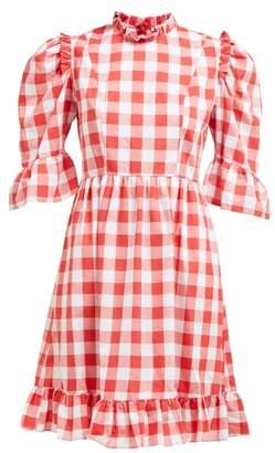 Batsheva Kate Gingham Print Cotton Dress - Womens - Red White