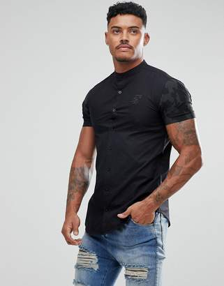 SikSilk muscle shirt in black with camo sleeves