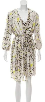Diane von Furstenberg Geometric Print Silk Dress White Geometric Print Silk Dress