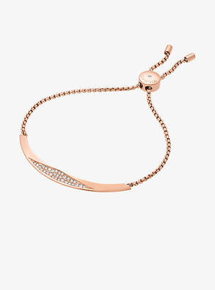 Michael Kors Pave Rose Gold-Tone Slider Bracelet