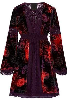 Anna Sui Lace-Paneled Printed Velvet Mini Dress