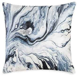 Callisto Home Distressed Marble Velvet & Silver Foil Pillow