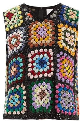 Ashish Sequinned Patchwork Crochet Sleeveless Top - Womens - Multi