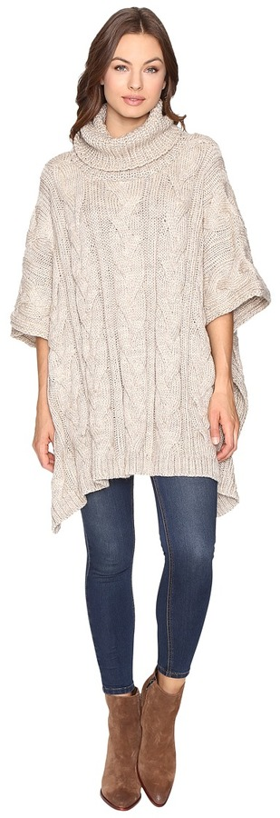 Christin Michaels Christin Michaels Maia Cable Knit Turtleneck Poncho