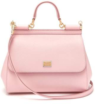 Dolce & Gabbana Sicily Medium Dauphine Leather Bag - Womens - Light Pink
