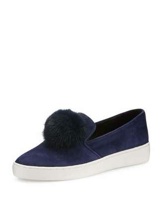 Michael Kors Eddy Mink Fur-Pompom Sneaker, Sapphire $295 thestylecure.com