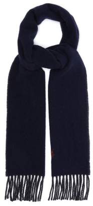 Polo Ralph Lauren Two Tone Fringed Wool Blend Scarf - Mens - Navy Multi