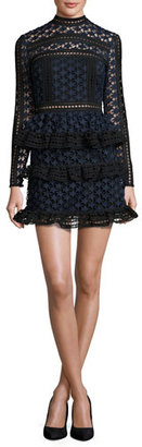 Self-Portrait Star Lace-Paneled Mini Dress $435 thestylecure.com