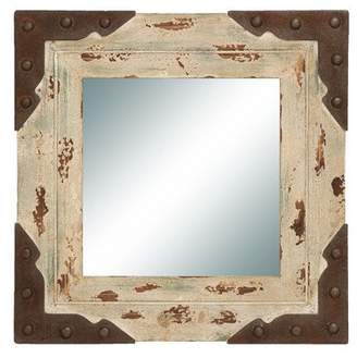 DecMode Decmode Rustic 24 X 24 Inch Distressed Ecru and Brown Wood and Metal Framed Wall Mirror