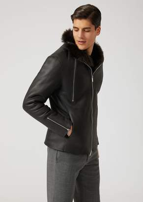 Emporio Armani Nappa Leather Jacket With Long-Haired Sheepskin Lining