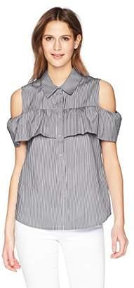 Calvin Klein Women's Striped Cold Shoulder Ruffle Blouse