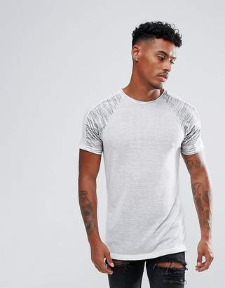 Asos Design T-Shirt In Linen Look Fabric With Contrast Panels