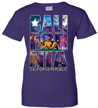 Co Dolphin Shirt California Republic Cosmic State Flag Logo Design In Space Galaxy Ladies T-Shirt