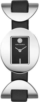 Tory Burch JACQUES WATCH, BLACK LEATHER, STAINLESS STEEL, 28 X 33 MM
