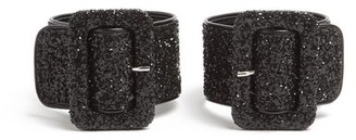 ATTICO Glitter Embellished Ankle Straps - Womens - Black
