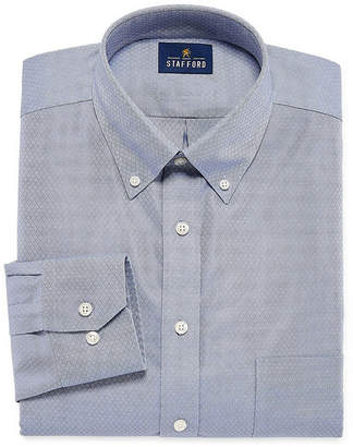 STAFFORD Stafford Executive Non-Iron Cotton Pinpoint Oxford Long Sleeve Grid Dress Shirt