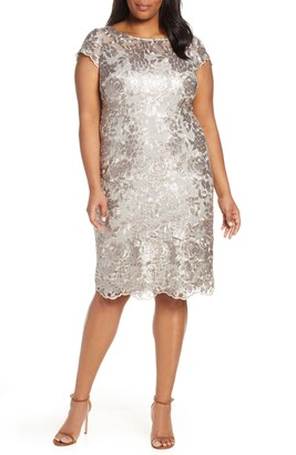 097591211b3 Alex Evenings Cap Sleeve Sequin Embroidered Sheath Dress