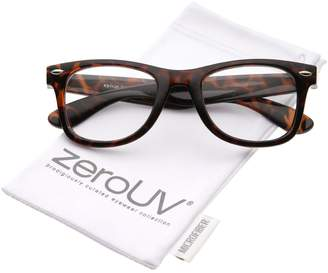 e2be3d1975 Zerouv Classic Thick Square Clear Lens Horn Rimmed Eyeglasses 50mm
