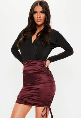 Missguided Burgundy Satin Ruched Side Mini Skirt