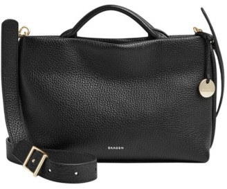 Skagen Mikkeline Mini Leather Satchel - Black $195 thestylecure.com