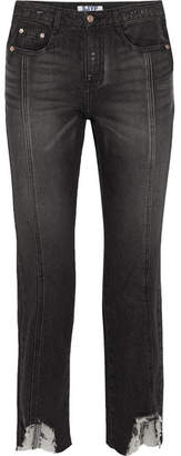 Sjyp Distressed High-rise Straight-leg Jeans - Black