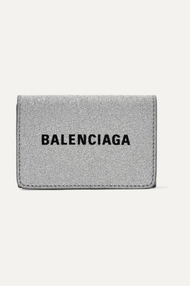 Balenciaga Everyday Printed Glittered Leather Wallet - Silver