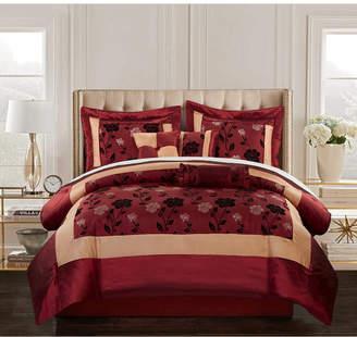 Angela 7-Piece Comforter Set, Red, California King Bedding