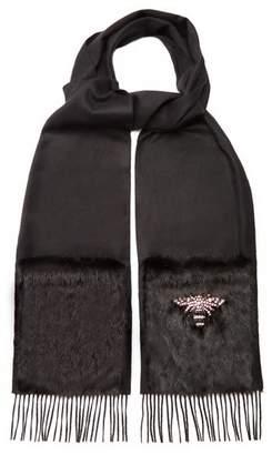 Gucci Bee Embellished Silk Blend Scarf - Womens - Black