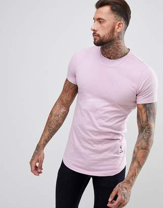 Religion Longline T-Shirt With Curved Hem And Double Neck In Purple