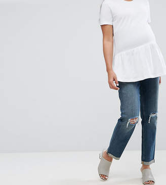Asos KIMMI Shrunken Boyfriend Jeans in Misty Wash with Busts and Rips With Over The Bump Waistband