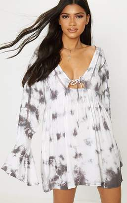 PrettyLittleThing Cream Satin Cup Detail Midi Dress