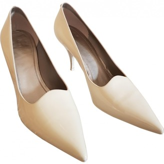 Celine Soft V Neck Ecru Patent leather Heels