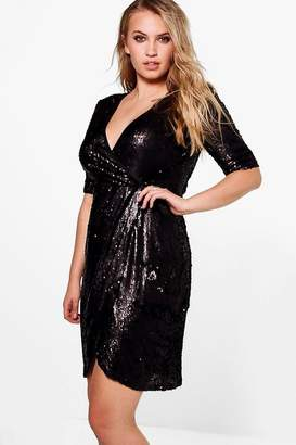 boohoo Plus Wrap 3/4 Sleeve Sequin Dress