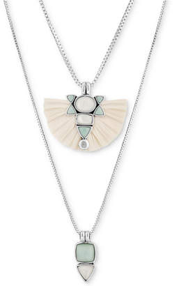 """Lucky Brand Silver-Tone Stone & Raffia Layered Necklace, 28"""" + 2"""" extender"""