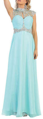 Asstd National Brand Diamond Sleeveless Cutout Back Prom Dress