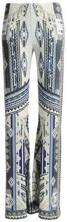 Crystal-Embellished Printed Jersey Wide-Leg Pants