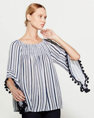 Studio West Printed Stripe Pom-Pom Trim Blouse
