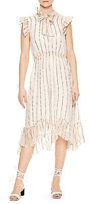 Sandro Women's Cuba to Paris Maki Sheer Overlay Silk Dress