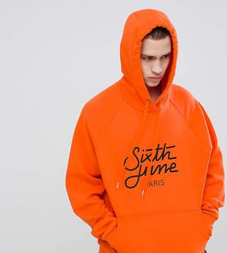 Asos Sixth June Logo Hoodie In Orange Exclusive To