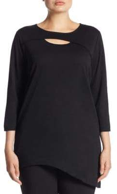 Joan Vass Plus Cutout Asymmetric Cotton Tunic