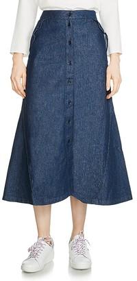 Maje Jingrid Denim Midi Skirt $210 thestylecure.com