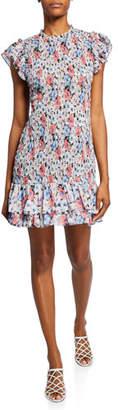 Veronica Beard Cici Smocked Floral Short Dress